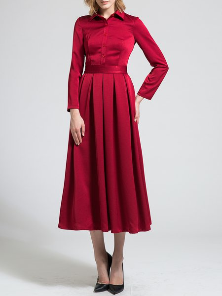 Shirt Collar Pleated Long Sleeve Elegant Maxi Dress