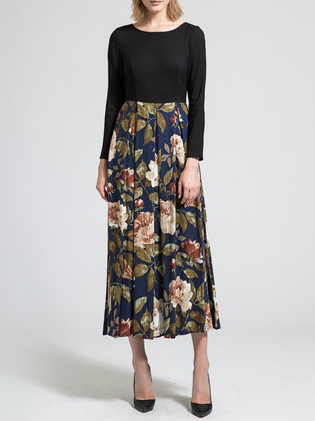 Black Elegant Floral Scoop Neckline Paneled Maxi Dress
