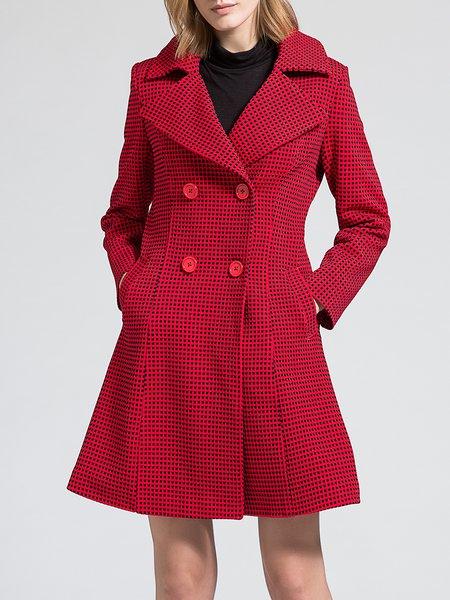 Vintage Long Sleeve Pockets Checkered/Plaid Coat