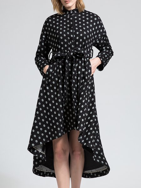 Polka Dots Vintage Stand Collar Wool Blend Long Sleeve Midi Dress