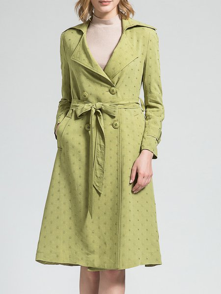 Green Simple Cotton-blend Lapel Pockets Coat with Belt