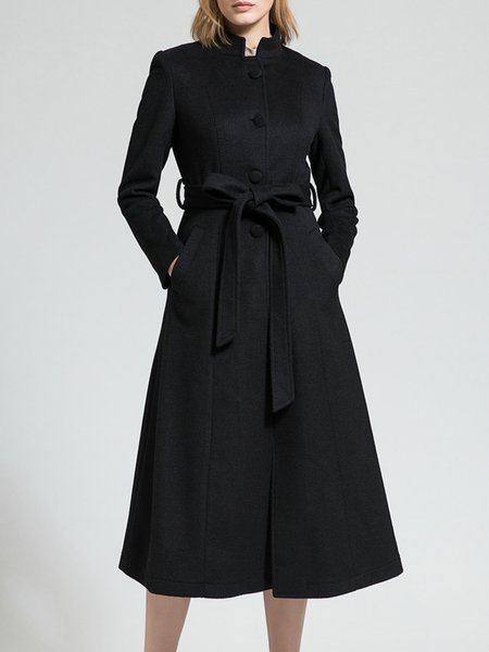 Black Stand Collar Long Sleeve Plain Wool-blend Coat
