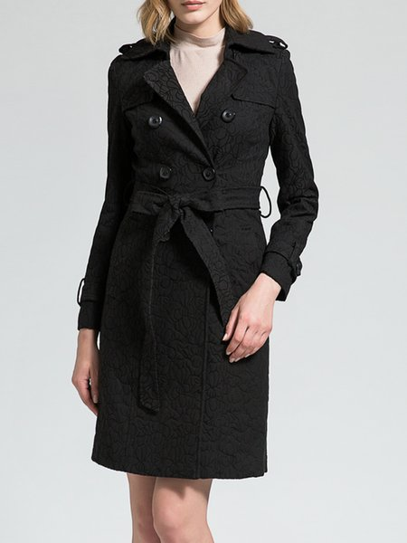 Black Lapel A-line Plain Long Sleeve Double Breasted Coat with Belt
