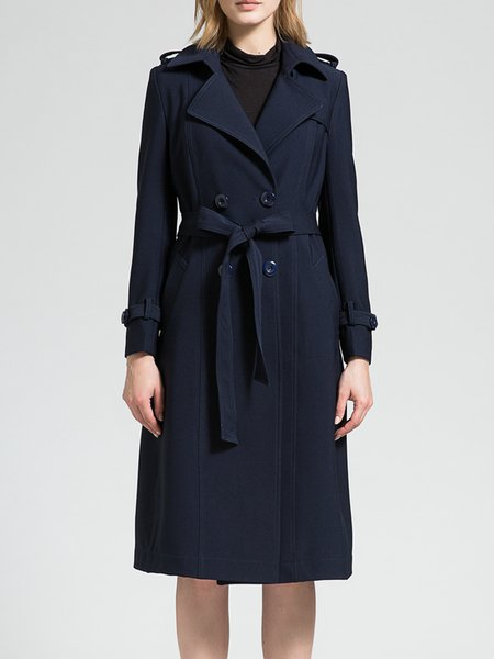 Long Sleeve Pockets Simple Lapel A-line Coat with Belt