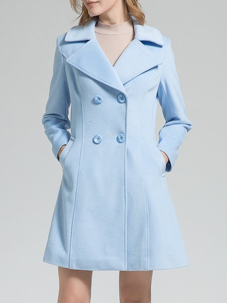 Buttoned Long Sleeve Lapel Simple Pea Coat