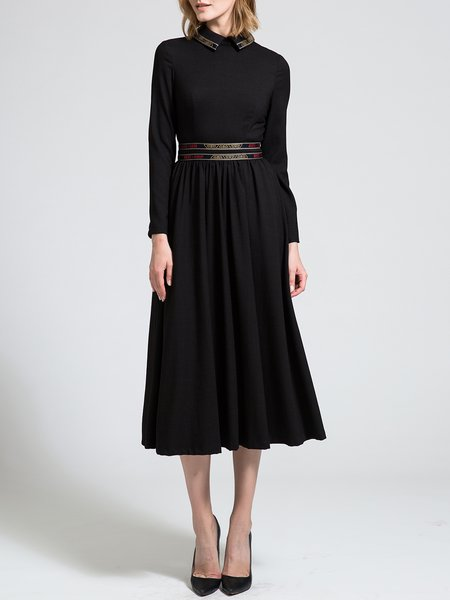 Peter Pan Collar Paneled Long Sleeve A-line Elegant Midi Dress