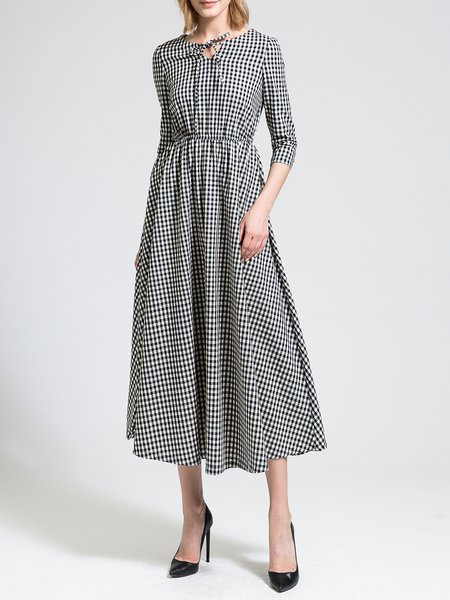 3/4 Sleeve Keyhole A-line Elegant Midi Dress