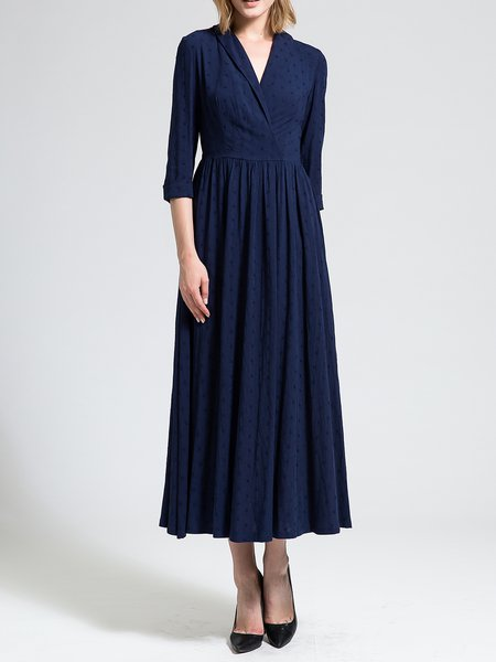 Surplice Neck Cotton-blend A-line 3/4 Sleeve Elegant Maxi Dress