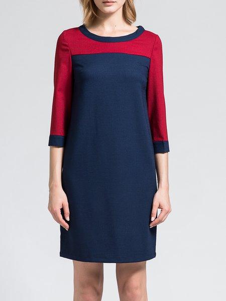 Shift Color-block 3/4 Sleeve Casual Midi Dress