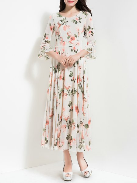 Floral Bell Sleeve Printed Casual Holiday Dress