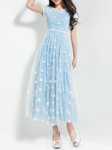 Light Blue Floral Appliqued Girly Maxi Dress