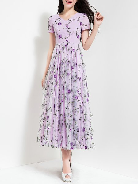 Purple Embroidered Short Sleeve Floral Party Dress