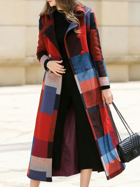 Black Stripes Buttoned Lapel Long Sleeve Pea Coat With Belt