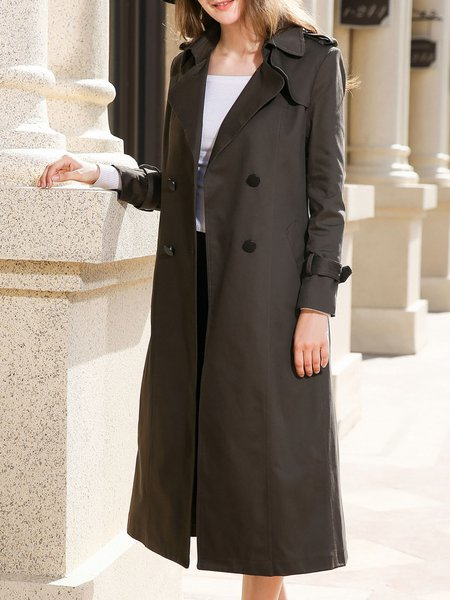 Plus Size Pockets A-line Lapel Long Sleeve Casual Trench Coat