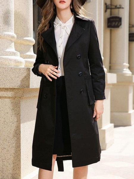 Casual Long Sleeve A-line Trench Coat