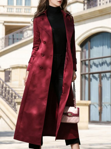 A-line Long Sleeve Lapel Pockets Trench Coat