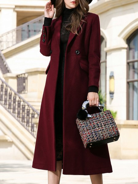 A-line Plain Casual Wool Lapel Pockets Buttoned Coat