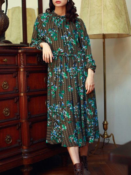 Green Swing Long Sleeve Floral Printed Midi Dress