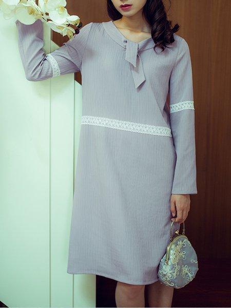 Plain Lace Paneled Girly A-line Long Sleeve Midi Dress
