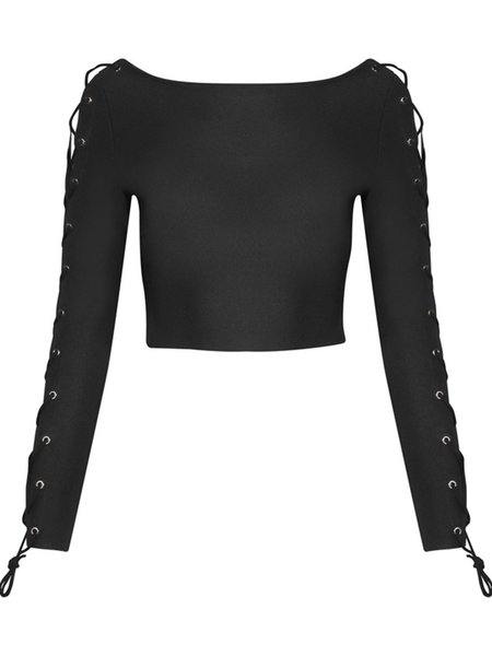 Black Lace Up Sexy Solid Crew Neck Cropped Top