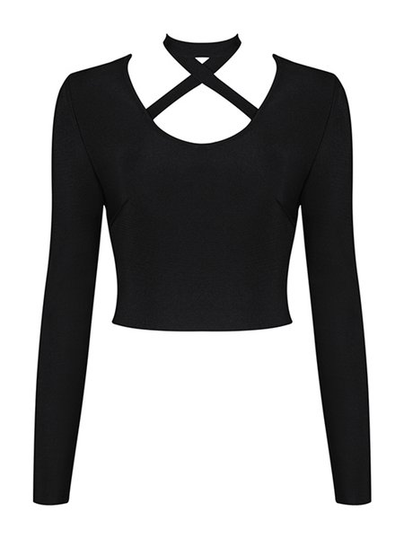 Cutout Solid Sexy Long Sleeve Cropped Top