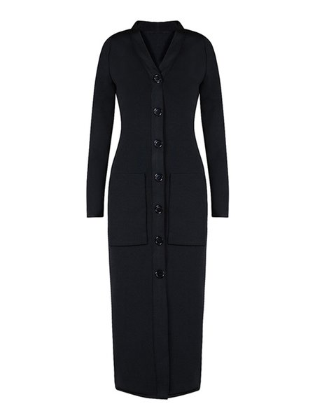 Black Buttoned Solid V Neck Sexy Midi Dress