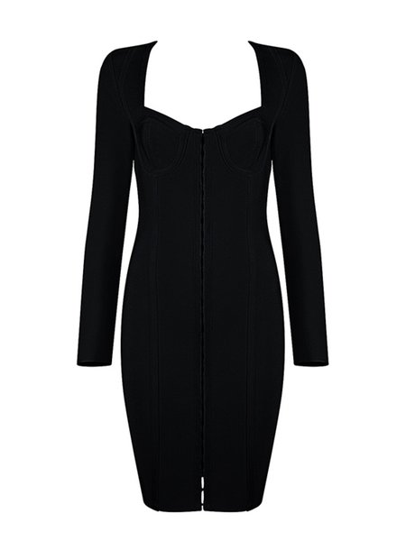 Long Sleeve Sexy Binding Midi Dress