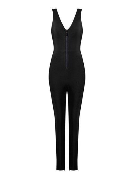 Bodycon V Neck Sexy Cutout Sleeveless Zipper Jumpsuit
