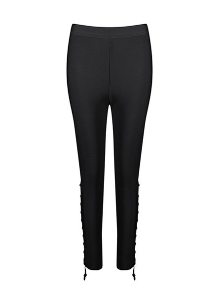 Black Lace Up Solid Sexy Skinny Leg Pants
