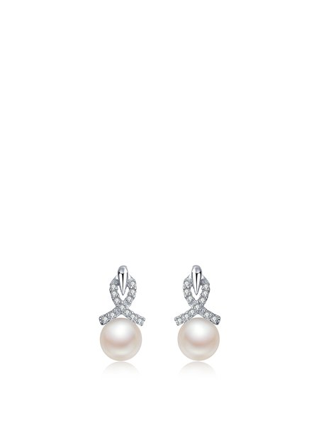Silver-Color Cubic Zirconia Silver-Color Earrings