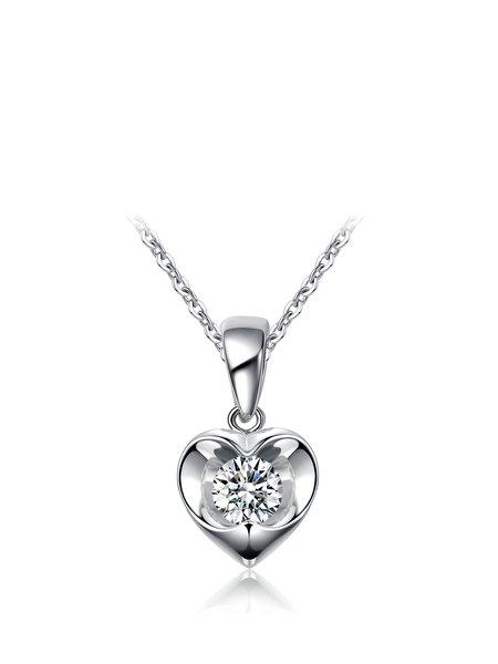 Silver-Color Cubic Zirconia Silver-Color Heart Necklace