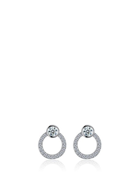 Silver-Color Round Cubic Zirconia Earrings