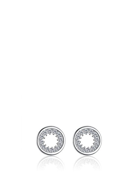 Silver Round Cubic Zirconia 925 Sterling Silver Earrings