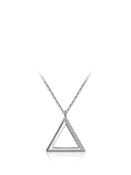 Silver 925 Sterling Silver Triangle Necklace