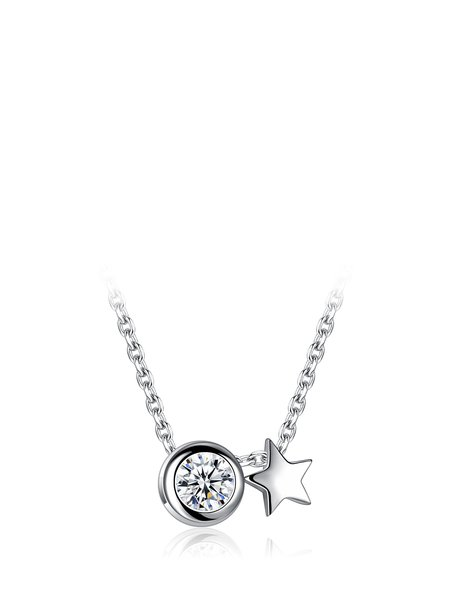 Silver Cubic Zirconia Geometry 925 Sterling Silver Necklace