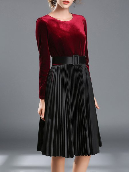 Red Polyester Paneled Pleated Midi Dress