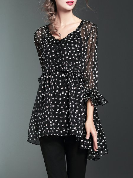 Black Floral-print Silk Girly Blouse With Cami