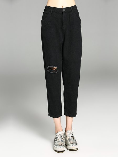 Black Ripped Casual Straight Leg Pants