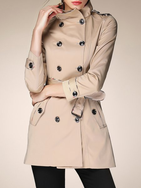 Apricot Cotton Elegant Solid Buttoned Trench Coat