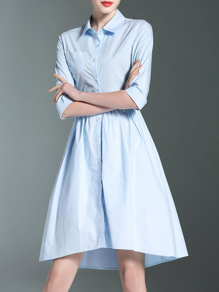 Light Blue 3/4 Sleeve Solid Shirt Collar Cutout Midi Dress