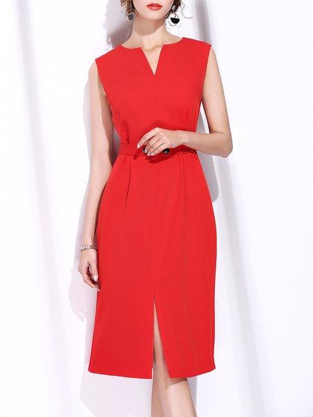 Slit Sleeveless A-line Midi Dress