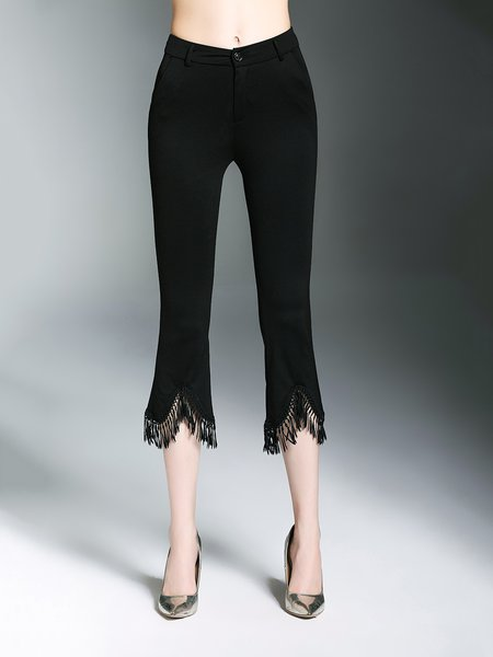 Black Casual Fringed Polyester Flared Pant