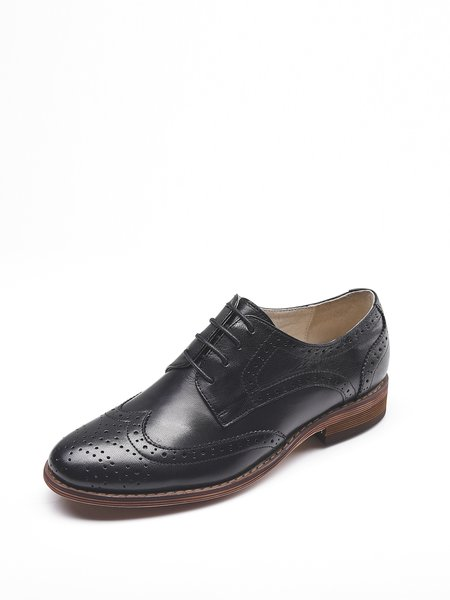 Low Heel Leather Casual Brogues Oxford Shoes