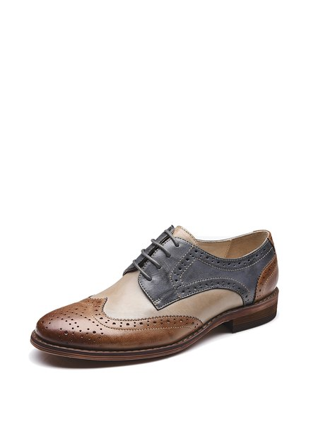 Color-block Leather Lace-up Low Heel Casual Brogues Oxford Shoes