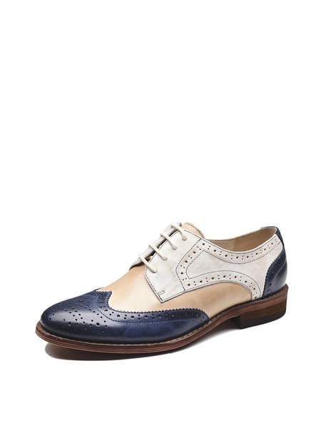 Split Joint Leather Casual Brogues Oxford Shoes