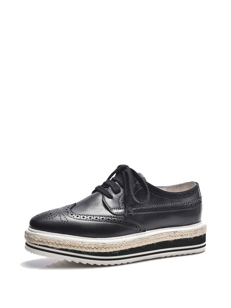 Leather Casual Platform Lace-up Spring/Fall Brogues Oxford Shoes