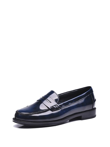 Casual Low Heel Leather Loafers