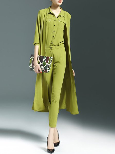 Green Buttoned Polyester Crew Neck Simple Jumpsuit
