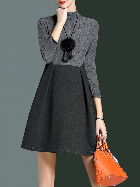 3/4 Sleeve A-line Turtleneck Elegant Plain Mini Dress With Necklace