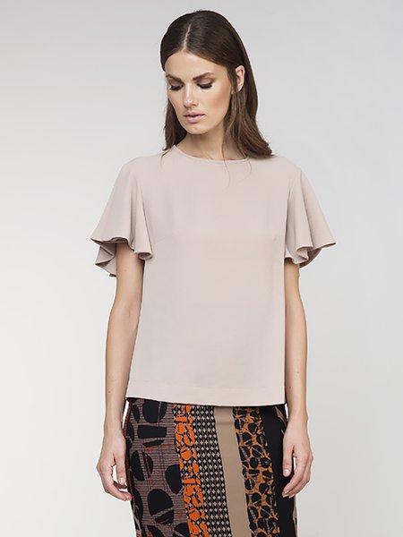 Beige Girly Plain Frill Sleeve Woven Short Sleeved Top